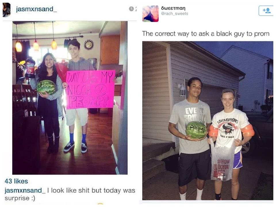 "Two pictures side by side. The one on the left is from Instagram and features two people, one seemingly female holding a watermelon and a bottle of red Kool-aid and another seemingly male holding a highlighter pink sign that reads: ""Will U B my Nniga @ prom?"" The one on the right is from Twitter user @rach_sweets and is a picture of two people; one seemingly black male holding a watermelon with the word ""Prom?"" written on it in black ink and a seemingly white woman holding what appears to be a Kentucky Fried Chicken bag."