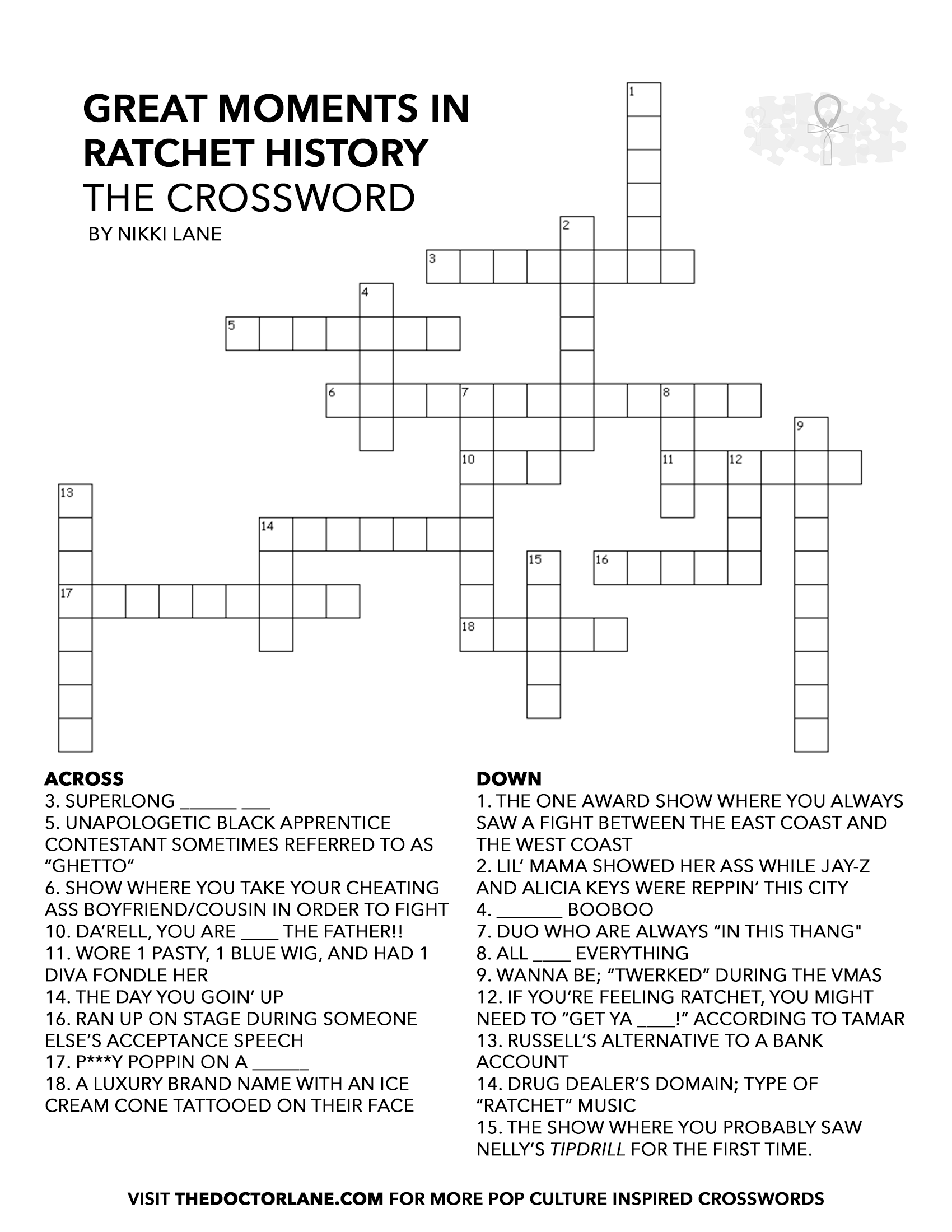 Great Moments in Ratchet History: The Crossword – Nikki Lane, Ph.D